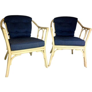Mid-Century Rattan Armchairs - A Pair For Sale