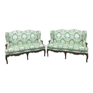 Victorian Green Printed Damask Upholstered Loveseats - a Pair For Sale