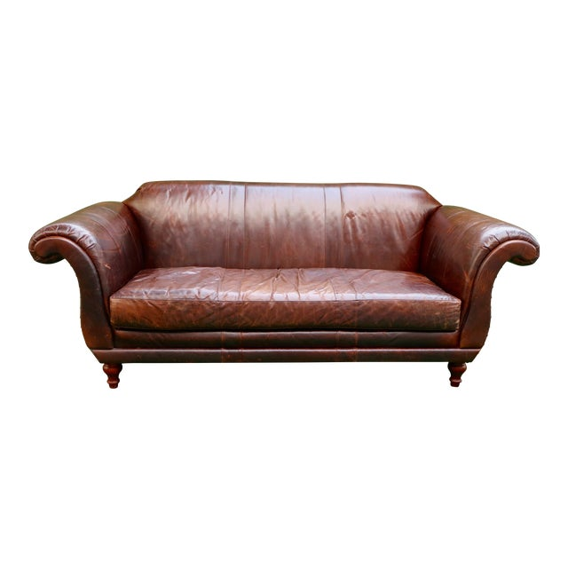 Vanguard Furniture Americana Brown Leather Sofa For Sale