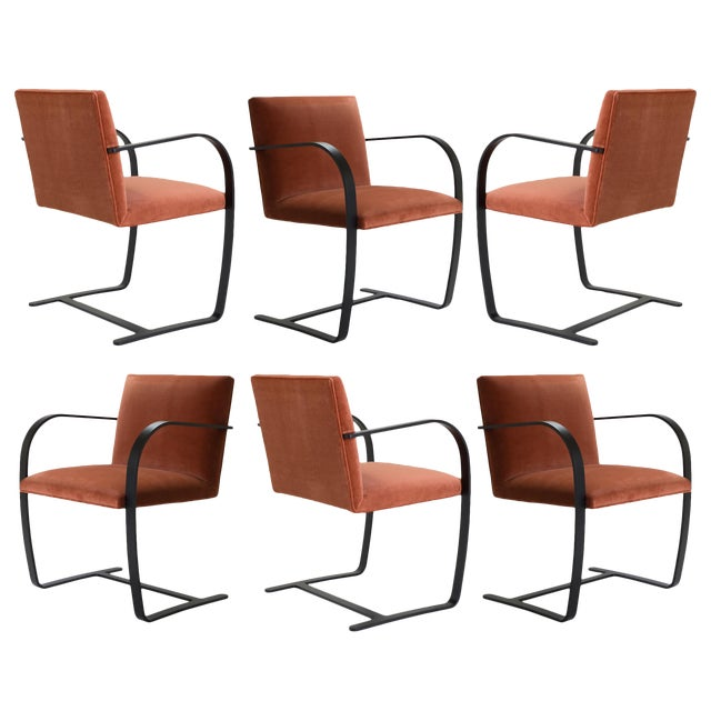 Brno Flat-Bar Chairs in Rust Velvet, Obsidian Matte Frame - Set of 6 ...
