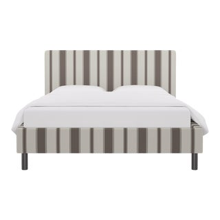 Queen Tailored Platform Bed in Taupe Clarence Stripe For Sale