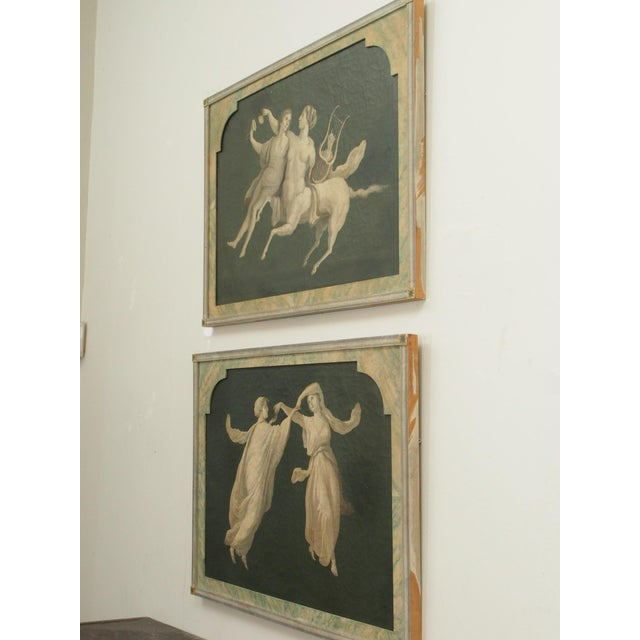 Canvas Pair of Grisaille Paintings of Classical Figures For Sale - Image 7 of 9