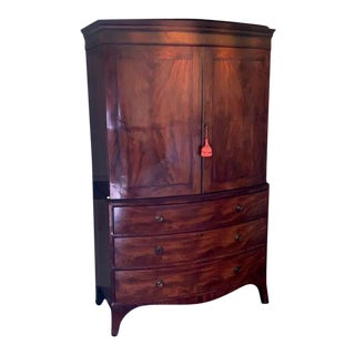 American Bow Front Linen Press For Sale
