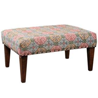 Upholstered Ottoman Made of Midcentury Colorful Turkish Rug over Custom