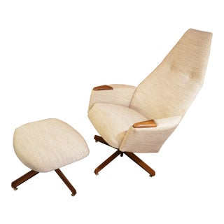 Mid Century Modern Adrian Pearsall High Back Swivel Chair and Ottoman Newly Upholstered - 2 Piece Set For Sale