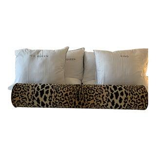 King Size Leopard Velvet Bolster Pillow For Sale
