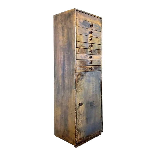 Early 20th Century Industrial Distressed Painted Chest For Sale