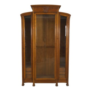 French Art Nouveau Walnut Display Cabinet For Sale