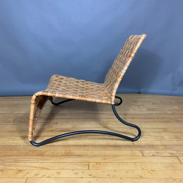 Continental Woven Cane and Blackened Steel Lounge Chair For Sale - Image 4 of 12