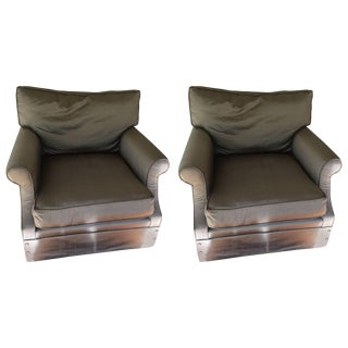 Fabulous Pair of Large Down Club Chairs by Kreiss For Sale