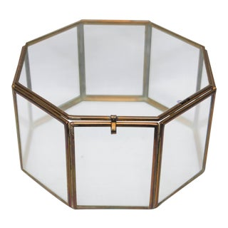 Vintage Brass & Glass Octagon Keepsake Box