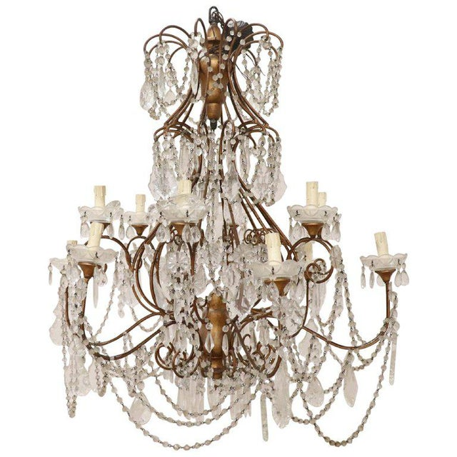 20th Century Louis XVI Style Gilded Bronze and Crystals Large Luxury Chandelier For Sale - Image 11 of 11