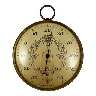 French Belle Époque Nantes Hanging Brass & Convex Glass Celsius Thermometer For Sale