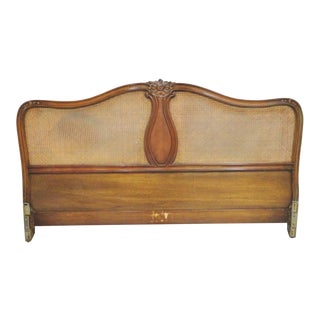 French Walnut Caned Kingsize Headboard For Sale