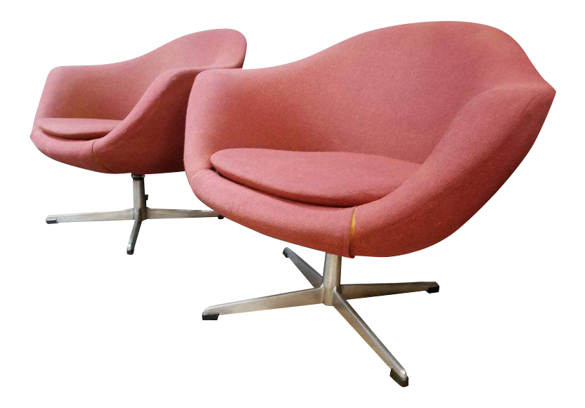 Overman Swivel Lounge Chairs   A Pair