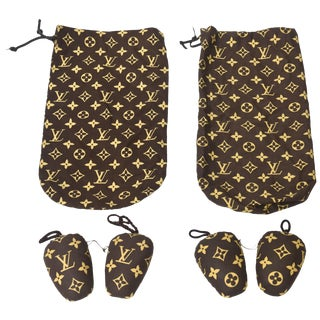 Vintage Louis Vuitton Traveling Shoe Bags Shoe Stuffers, Monogramed Pair of Final Markdown For Sale
