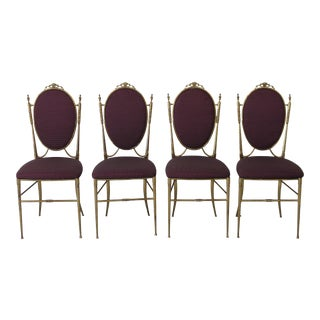 Chiavari Mid Century Bronze Aubergine Textile Dining Chairs - Set of 4 For Sale