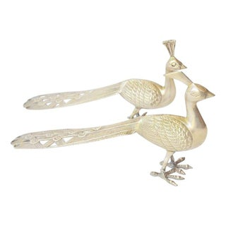 Decorative Brass Peacocks - A Pair