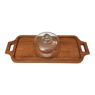 1970s Vintage Goodwood Teak Cheese Tray With Glass Dome For Sale