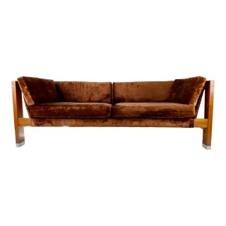 Mid-Century Modern Walnut & Chrome Couch by Rowe For Sale
