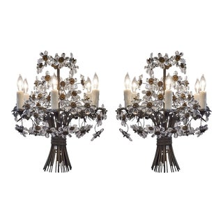 Pair of French Vintage Maison Bagues Crystal Chandeliers