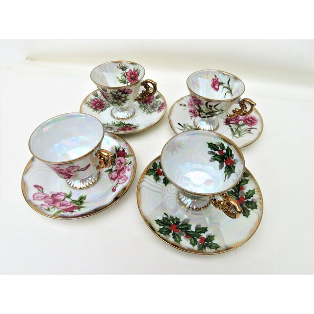 Vintage demitasse cups and saucers sets date to the 1960s and were part of the Flower of the Month series. Each birthday...
