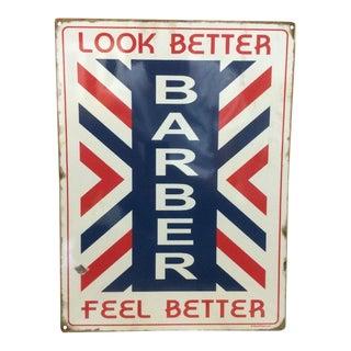 Vintage Barber Shop Metal Striped Sign