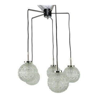 1960s Doria Leuchten, Gnarrenburg Germany Glass Five Globe Pendant / Suspension Light For Sale