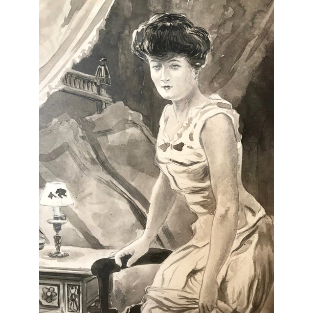 C.1890 Antique Watercolor Painting Victorian Boudoir For Sale - Image 4 of 6