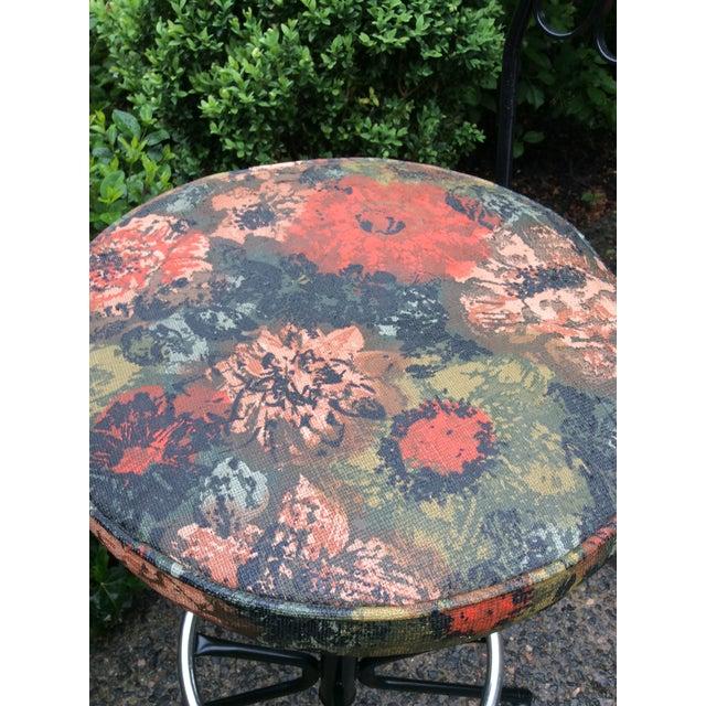 Fabric Arthur Umanoff Wrought Iron Swivel Bar Stools - A Pair For Sale - Image 7 of 9