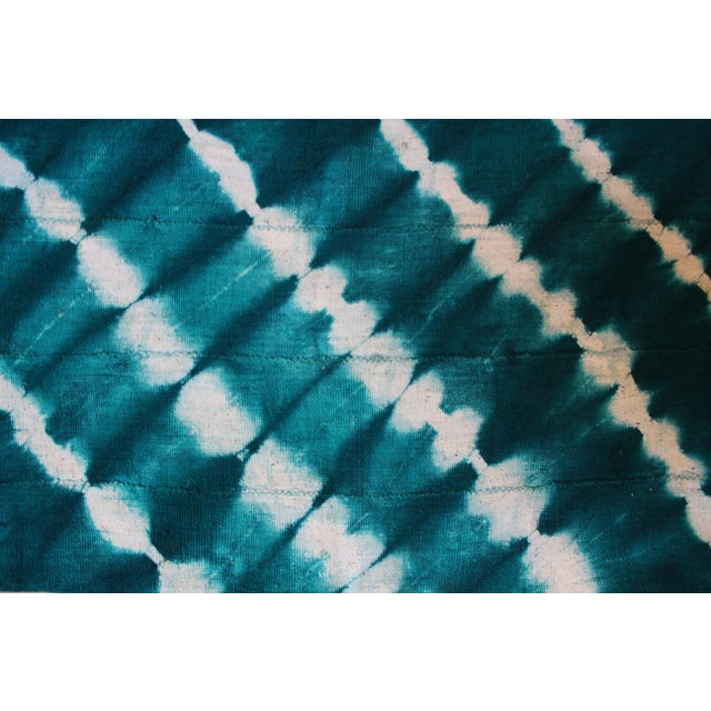 Boho Chic Teal Mud Cloth Textile For Sale - Image 3 of 4