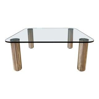 Marco Zanuso for Zanotta Marcuso Steel and Glass Coffee Table, 1970 For Sale