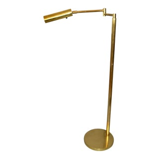 Italian Brass Swing Arm Floor or Reading Lamp For Sale