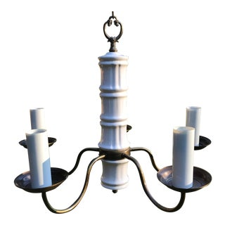 1960s Thomas Industries White Porcelain Bamboo and Antique Brass Chandelier For Sale