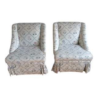 Beachley Furniture Co., Custom Made Pair of Chairs With Robert Allen Fabric English Chinz Lattice