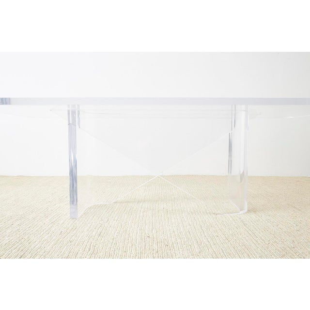 Monumental Italian Moderne Sculptural Lucite Dining Table For Sale - Image 11 of 13