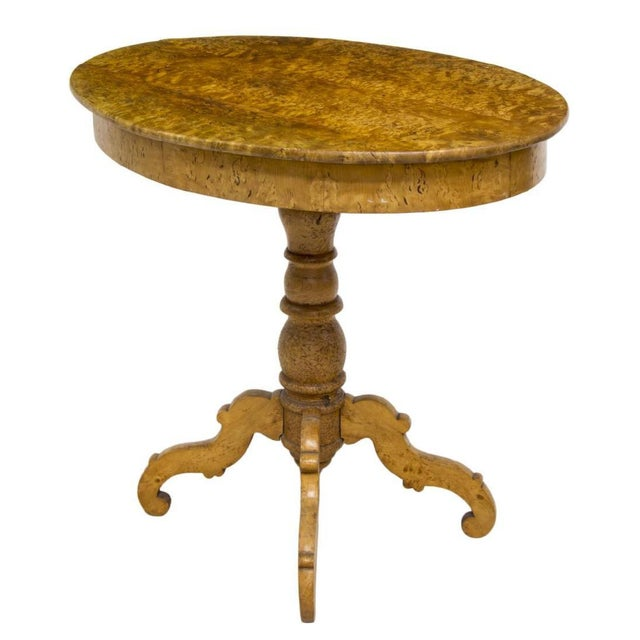 Biedermeier Swedish Biedermeier Burlwood Veneer Oval Top Side Table For Sale - Image 3 of 5