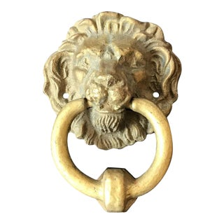 1960s Brass Lions Head Door Knocker For Sale