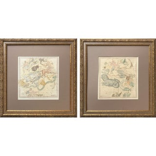19th C. Antique Pair of Constellation Chart/ Celestial, Astrological Maps by Burrit 1835 For Sale