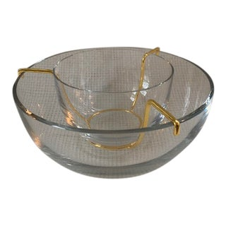 Vintage Baccarat Crystal and 24k Gold Plated Caviar Set - a Pair For Sale