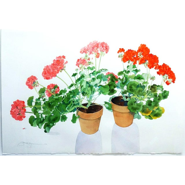 Stunning and vibrant watercolor of exquisitely captured potted Geraniums. Hand-Signed and dated 1992 lower left by the...