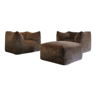 "1970s Mario Bellini ""Le Bambole"" Chairs & Ottoman For Sale"