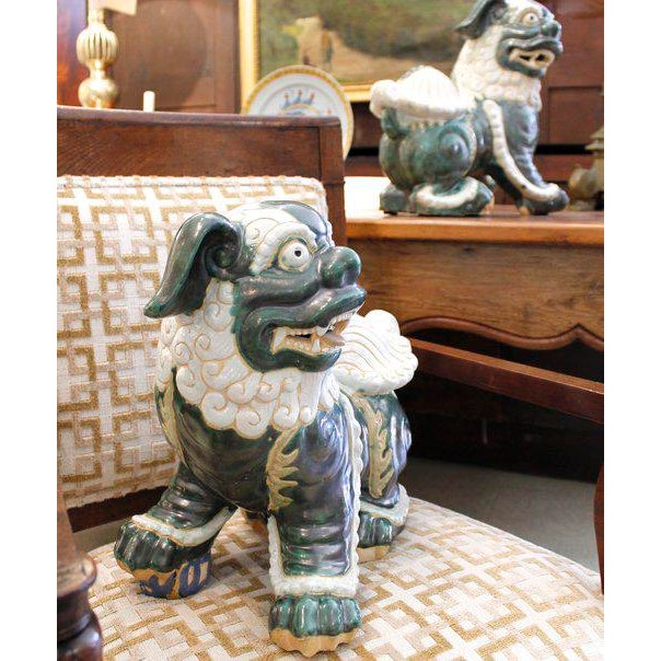 Asian Large Glazed Green and Cream Terra-Cotta Chinese Foo Dogs - a Pair For Sale - Image 3 of 7
