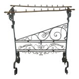 Image of 19th Century French Faux Bamboo Brass and Wrought Iron Blanket Stand For Sale