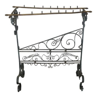 19th Century French Faux Bamboo Brass and Wrought Iron Blanket Stand For Sale
