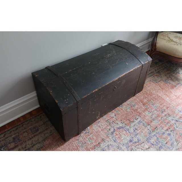 Late 19th Century Dometop Steamer Trunk Chest With Metal Strapping and Iron Handles For Sale - Image 5 of 11