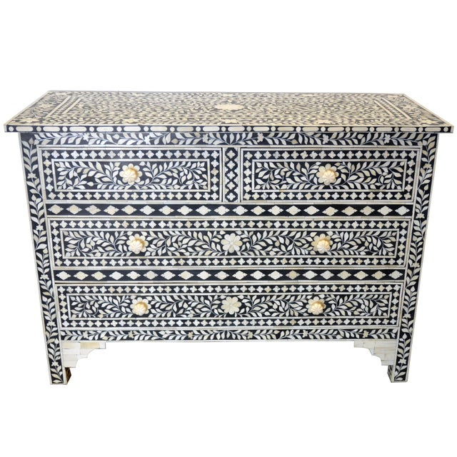 Wood Moroccan Inspired Bone Inlay Dresser For Sale - Image 7 of 7