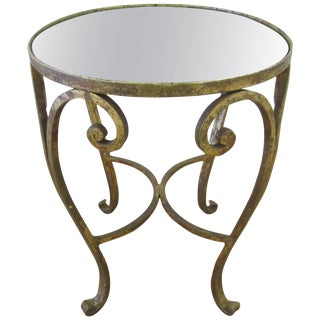 Gold Gilt and Glass Mirror Top Side or Drinks Table For Sale