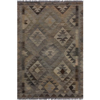 Contemporary Kilim Angelina Gray/Brown Hand-Woven Wool Rug - 2'8 X 3'10 For Sale
