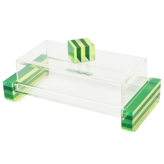 Charles Hollis Jones Style Colored Lucite Two Part Box For Sale